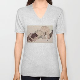 KNEELING GIRL, RESTING ON BOTH ELBOWS - EGON SCHIELE Unisex V-Neck