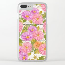 Rustic white wood pink lavender coral watercolor floral Clear iPhone Case