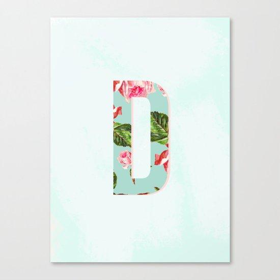 Floral Letter D - Letter collection Canvas Print