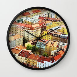 Roofs of Prague Wall Clock