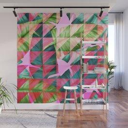 Abstract Hot Pink Banana Leaves Design Wall Mural