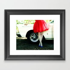 a girl and her car Framed Art Print