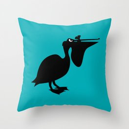 Angry Animals: Pelican Throw Pillow