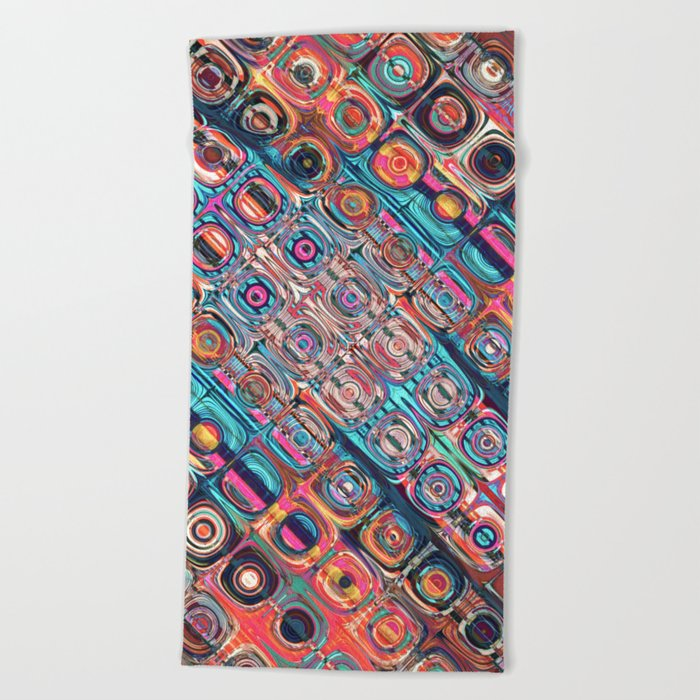 Colorful Circular Pattern Beach Towel