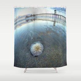 Chris Harsh Photos * A Low Tide Sand Dollar * Huntington Beach Pier  Shower Curtain