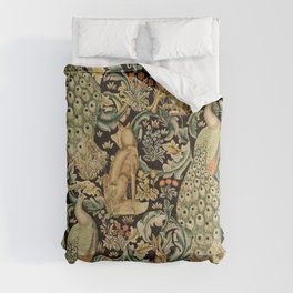 William Morris Vintage Craftsman Forest Compilation Charcoal Black  Comforters