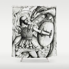 Perseus fighting the sea monster Shower Curtain
