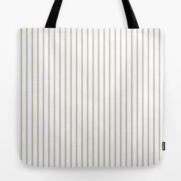 Silver Moss Pinstripe on White Tote Bag