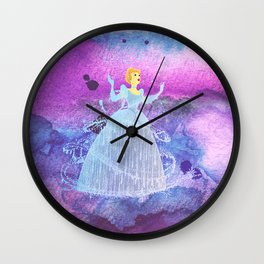 Cinderella On Watercolors Wall Clock
