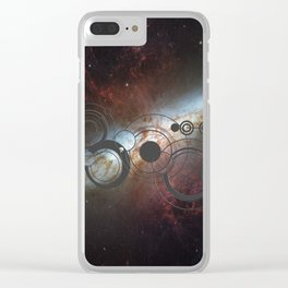 Doctor Who Allons-y Gallifrey  with the Starburst Galaxy M82 Clear iPhone Case