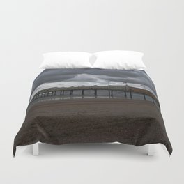 Dark Clouds Over Paignton Pier Duvet Cover
