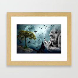 Gorilla discovers crows by GEN Z Framed Art Print