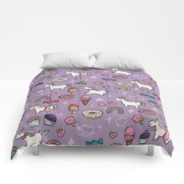 Purple Unicorns & Sweet Daydreams, Little Girls Decor, Bright, Sweets Comforters