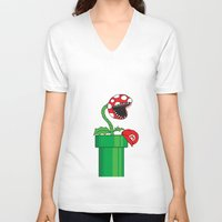mario V-neck T-shirts featuring mario by Molnár Roland