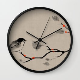 Bird on tree Asian brush painting Wall Clock