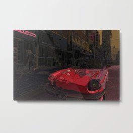 Retro red classic car and a vintage street scene Metal Print