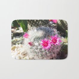 cactus in the desert with beautiful blooming pink flower Bath Mat