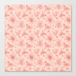 Pink Lily Flower Pattern 1 Canvas Print