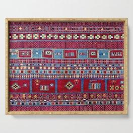 Tunisian Flatweave Antique Tribal Rug Print Serving Tray