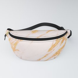 Gold Marble - Shimmery Glittery Rose Gold Marble Metallic Fanny Pack