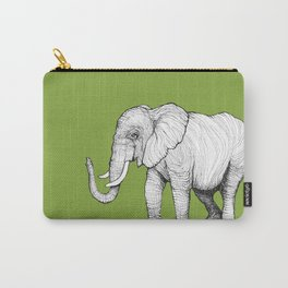 Elephant on Bright Olive Carry-All Pouch
