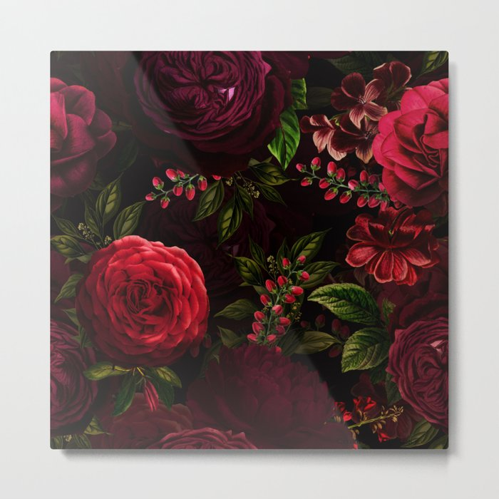 Mystical Night Roses Metal Print - dark square metal wall art