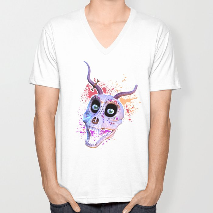 Ankou - colorful head Unisex V-Neck
