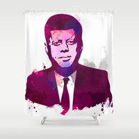 jfk Shower Curtains featuring JFK by BIG Colours