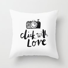 click with love in White Throw Pillow