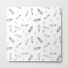 Watercolor feathers print Metal Print