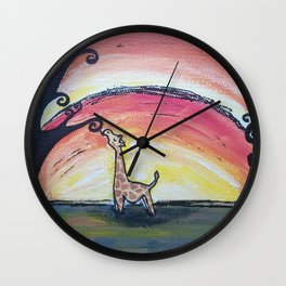 Giraffe Has a Snack Wall Clock