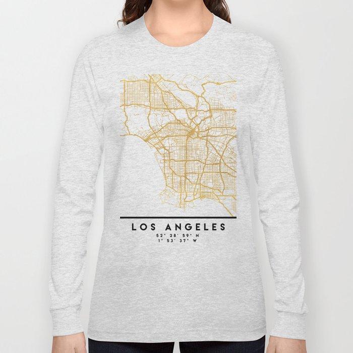 LOS ANGELES CALIFORNIA CITY STREET MAP ART Long Sleeve T-shirt