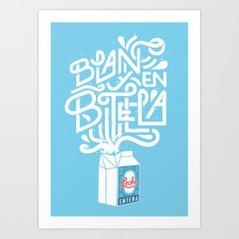 Blanco & en Botella Art Print