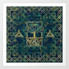 Tree of life - Yggdrasil with Triquetra  symbols Art Print