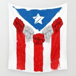 Raised Fists For Puerto Rico - Boricua Flag Wall Tapestry
