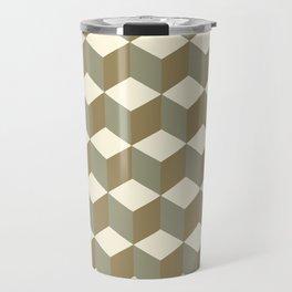 Diamond Repeating Pattern In Meerkat Brown and Grey Travel Mug