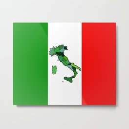 Map of Italy and Italian Flag Metal Print