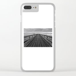 Bevan Fishing Pier - Black and White Clear iPhone Case
