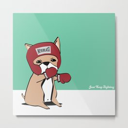 Kickboxing Frenchie Metal Print