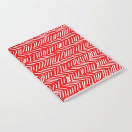 Scarlet Herringbone Lines Notebook