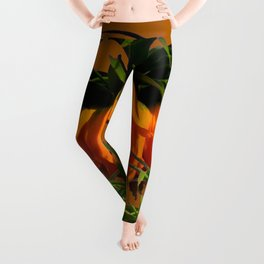 CARAMEL COLOR YELLOW CROWN IMPERIAL FLOWERS Leggings