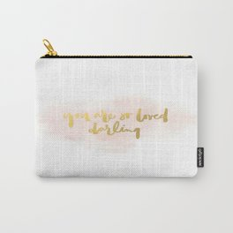 Pink Gold Darling Love Heart Brushstroke Typography Watercolor Calligraphy Ink Carry-All Pouch
