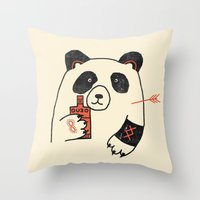 panda Throw Pillows featuring Panda by Farnell