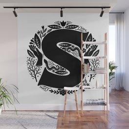 Letter S monogram wildwood Wall Mural