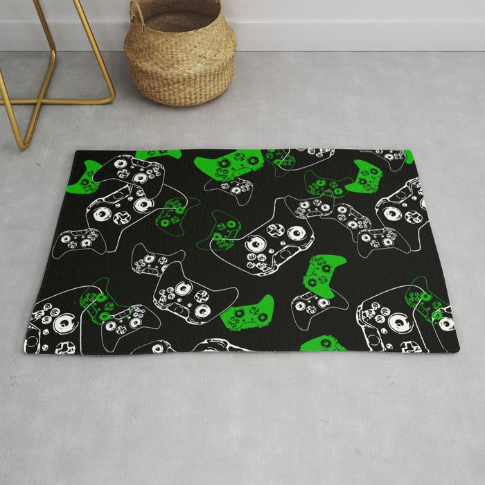 Video Game Black & Green Rug