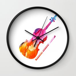 Colored Violin Gift Idea for Violinist Wall Clock