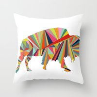 buffalo Throw Pillows featuring Buffalo by Alex Dehoff