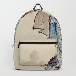 Katsushika Hokusai - Wearing Kimono with Check Design Backpack