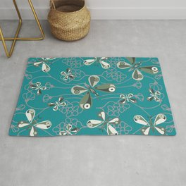 Butterfly and Floral Pattern Rug