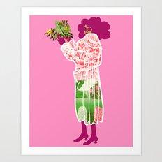 Floral Coat Pink Art Print